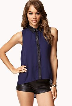 $19.80 | Faux Leather-Trimmed Chiffon Shirt | FOREVER21 - 2052076412