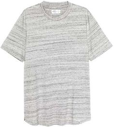 T-shirt in marled cotton jersey with wide ribbing around the neckline and short slits in the sides. Mens Tee Shirts, T Shirts For Women, Mens Sleepwear, H&m Online, David Beckham, Short Sleeve Tee, Fashion Online, Kids Fashion, Cotton