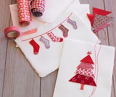 Inspiration for next year's homemade Christmas cards. Create Christmas trees and stockings from scraps of fabric and stitch onto paper stock. Though these look like they're made from washi tape to me! Christmas Makes, Noel Christmas, All Things Christmas, Winter Christmas, Beautiful Christmas, Christmas Stockings, Diy Christmas Cards, Homemade Christmas, Christmas Decorations