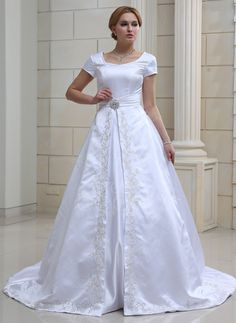 Ball-Gown V-neck Chapel Train Satin Wedding Dress With Embroidered Crystal Brooch (002001632) http://www.dressdepot.com/Ball-Gown-V-Neck-Chapel-Train-Satin-Wedding-Dress-With-Embroidered-Crystal-Brooch-002001632-g1632 Wedding Dress Wedding Dresses #WeddingDress #WeddingDresses