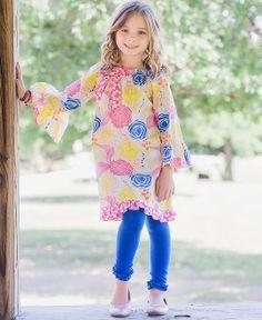 RuffleButts Gleeful Garden A-Line Dress