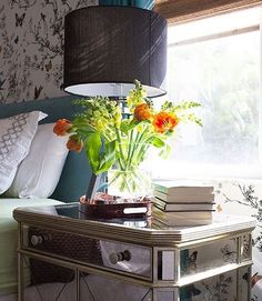 Weekend bedside bliss with fresh flowers + our Borghese Mirrored Mirrored Side Chest.  Photo via Design Award Winner @livelaughdecorate.