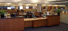 Genealogy Reference Desk at Dallas Public Library - again, too large, but I like the lower section for longer ref transactions.