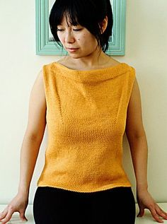 Free knitting pattern for Petrie Shell easy sleeveless top