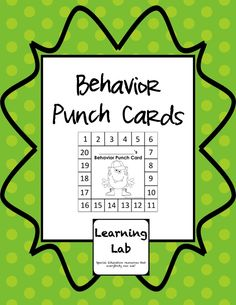 Set of 30 different behavior punch cards with different graphics, including some for seasons and holidays. Great tool for behavior management.