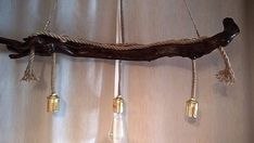 Handmade Stunning Driftwood Ceiling light with rope. Home decor. Office Decor #RusticPrimitive