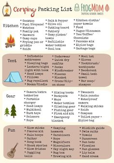 Take the worries of forgetting something when packing for your family's campin. - Take the worries of forgetting something when packing for your family's camping trip with this he - Camping Ideas, Camping Essentials List, Camping Bedarf, Bag Essentials, Camping Supplies, Camping With Kids, Family Camping, Camping Hacks, Camping Activities