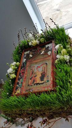 Altar Flowers, Church Flowers, Orthodox Icons, Flower Decorations, Terrarium, Jesus Christ, Orthodox Christianity, Floral, Inspiration