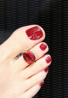 Toe Ring Red Glass Lentil Bead Stretch by FancyFeetBoutique