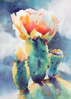 Prickly Drama by Yvonne Joyner Watercolor ~ 20 x 16 Pen And Watercolor, Watercolor Artists, Watercolor Paintings, Watercolors, Watercolor Mixing, Watercolor Projects, Cactus Painting, Cactus Art, Cactus Flower