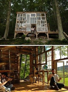 ,As with all other kinds of design work, creating good house designs is no easy task. Fortunately, we won't be running out of new, impressive architect. Tree House Designs, Diy Tree House, Tree House Interior, Room Interior, Interior Design, Recycled Glass, Recycled Windows, Recycled House, Reclaimed Windows
