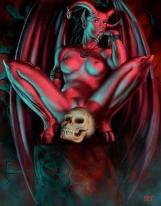 Women of Fantasy My Demons, Angels And Demons, Fantasy Girl, Dark Fantasy, Angel Y Diablo, Female Demons, Beautiful Dark Art, Demon Tattoo, Satanic Art