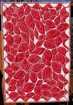 """Red and white challenge quilt, """"Garden of Threads"""", by tatavw01 at Quilting Board.  The design is made entirely with white threadwork"""
