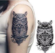 black white large Owl pattern Totem arm back waterproof temporary tattoo sticker