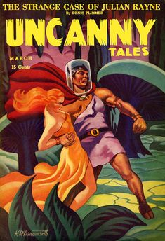 "Uncanny Tales 1942-March. ""The Strange Case of Julian Rayne."" K.P. Ainsworth, illustrator. [and hey, doesn't that look like a buff Dr. Spock with hooves?]"