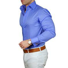 Camisa cor Indigo + Calça Beige