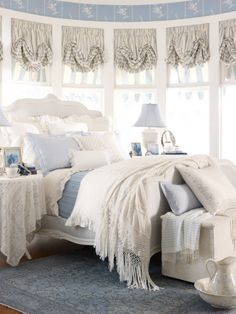 Creamy Whites And Pale Blue Romantic Cottage Bedroom !