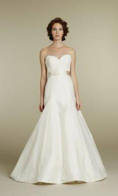 Tara Keely TK2205//Size 12 - Ivory alencon lace bodice, strapless sweetheart neckline, satin floral ribbon at natural waist, Mikado organza modified A-line skirt with chapel train and matching lace keyhole bolero.