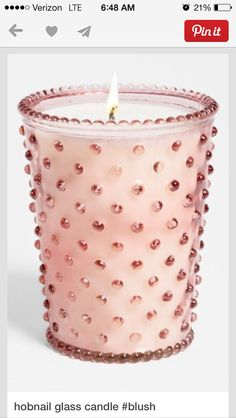 Amazing hand-poured candle crafted with a cotton wick for a clean burn. Re-purpose the pink hobnail glass once the candle's done as a small vase or decorative doodad. Candle Lanterns, Glass Candle, Pillar Candles, Candle Cups, Rose Candle, Bougie Candle, Tout Rose, Candle Craft, Pink Candles