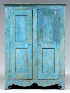 Pine panel-door cupboard, double panel doors, early blue paint