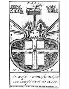 Map of the Garden of Eden, before God destroyed it with the flood, The Gentleman's Magazine, frontispiece, 1736