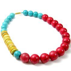 3 color Howlite stone necklace