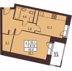 1 комната 43 м²