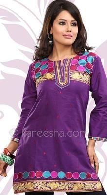 Purple Mauve Cambric Cotton Embroidered Tunic
