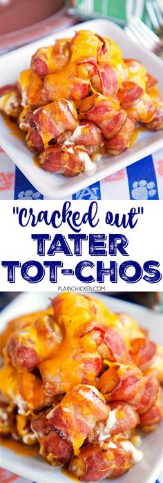 """""""Cracked Out"""" Tater Tot-Chos - Bacon wrapped tater tots topped with Ranch dressing and cheddar cheese. Only 4 ingredients and ready in about 30 minutes. This might be the best thing I've ever eat(Best Breakfast Tater Tots) Bacon Wrapped Tater Tots, Bacon Wrapped Appetizers, Best Appetizers, Appetizer Recipes, Snack Recipes, Cooking Recipes, Potato Appetizers, Game Recipes, Party Appetizers"""