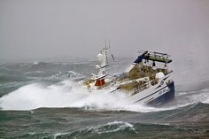 One moment she is crashing through the crest of a massive wave, the next plunging bow-first into a yawning trough Sea Storm, Waves Goodbye, Fishing Vessel, Stormy Sea, Oil Rig, Tug Boats, Arctic Circle, North Sea, Cool Pictures