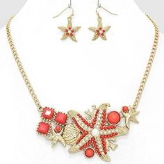 Chunky Coral Starfish Gold Chain Earring Necklace Set Fashion Costume Jewelry | eBay