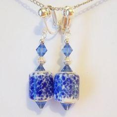 CLIP ON 1.5' BLUE Lampwork Glass Handcrafted Non-Pierced Dangle Earrings Z301 #Handmade #DropDangle