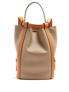 Loewe Midnight Contrast-Panel Leather Backpack In Beige Multi Bucket Backpack, Backpack Bags, Bucket Bag, Tote Bag, Tote Handbags, Purses And Handbags, Calf Leather, Leather Bag, Fabric Bags
