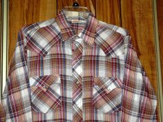 Vintage Men's Western Fashions Pearl Snaps Plaid Shirt Size Medium Brown Blue