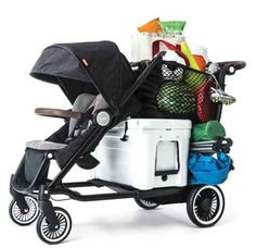 This stroller that can hold up to 150 pounds of kids, luggage, groceries, and gear.