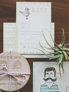 Quirky Illustrated Portrait Wedding Invitations with Engraved Wooden Coaster Save the Date: http://ohsobeautifulpaper.com/2015/03/quirky-illustrated-portrait-wedding-invitations/ | Design + Photo: Wide Eyes Paper Company