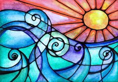 wouldn't this be lovely as a stained glass pattern? --> Surf's Up..... print