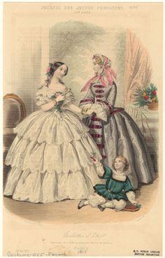 Fashion plate, 1855 France, Journal des jeunes personnes