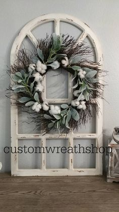 Farmhouse Wall Decor,Distress Window Pane,Grapevine Wreath,Wall Decor,Housewarmi… - New Design Country Farmhouse Decor, French Country Decorating, Country Charm, Farmhouse Style, Country Style, Big Country, Rustic Style, French Country Wall Decor, Rustic Chic