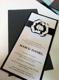 Black 'n' white ribbon invite