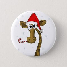 Shop Christmas giraffe button created by Christmas_by_Vanja. Christmas Buttons, Christmas Rock, Diy Christmas Ornaments, Christmas Themes, Christmas Decorations, Christmas Animals, Holiday Crafts, Rock Painting Ideas Easy, Rock Painting Designs