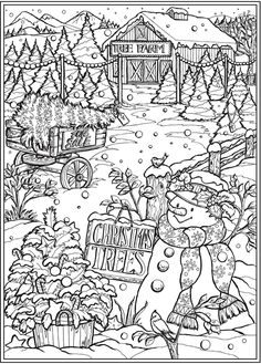 Coloring Pages For Grown Ups, Detailed Coloring Pages, Free Adult Coloring Pages, Cute Coloring Pages, Colouring Sheets For Adults, Dover Coloring Pages, Coloring Pages Winter, House Colouring Pages, Christmas Coloring Sheets