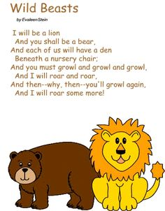 simple songspoems African Animals Poem Kindergaten sewing