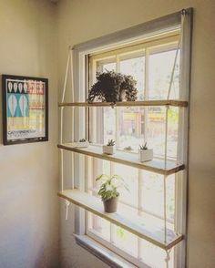 Custom Pine/Rope/Hardware Hanging Shelving Unit Window/Wall by KnaughtyShelves on Etsy https://www.etsy.com/listing/521844239/custom-pineropehardware-hanging-shelving
