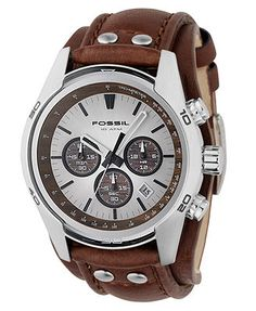 Fossil Watch, Men's Decker Brown Leather Strap CH2565