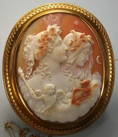 The Allegory of Day and Night, antique cameo, Cornelian shell, ca 1850 Italy