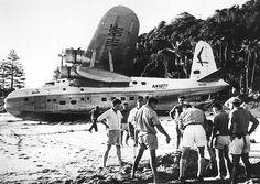 Accidental beaching of the Ansett Short Sunderland 23 C Class Empire Flying Boat (VH-BRF) in July, 1965