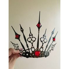 Evil Tiara Renaissance Queen Of Hearts Crown Cosplay Steampunk Gothic... ❤ liked on Polyvore featuring jewelry and steampunk