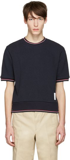 Thom Browne - Navy Rib Cuff T-Shirt