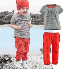 Newbaby Boy Girl Baby Clothes Lion T-shirt+Long Pants 2pcs Outfits Set Casual Playsuit Summer Suit